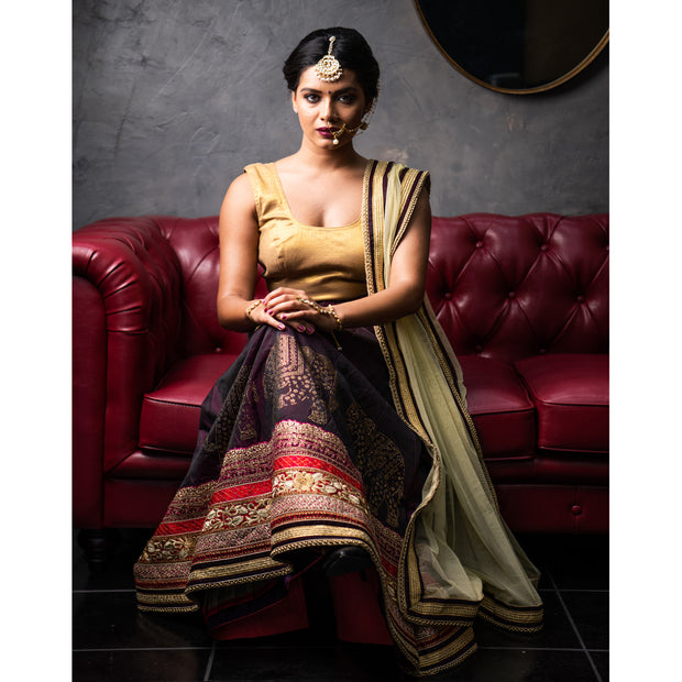 Lehenga with gold work on border and contrast dupatta