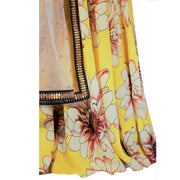 Yellow silk lehenga with flower print and brown blouse