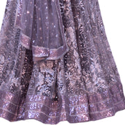 Gray based lehenga with Swarovski crystal on skirt and blouse