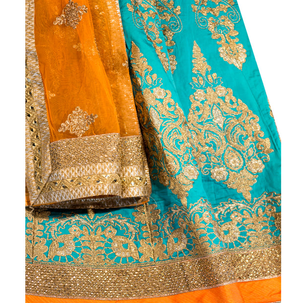 Blue and Orange Bridal Lehenga