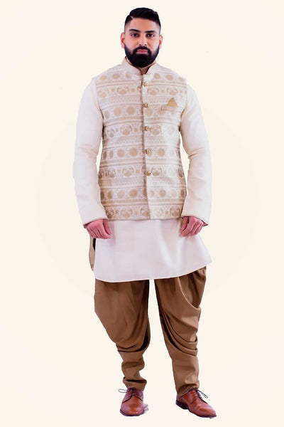 Soft muted embroidered golden vest, with pin wheel symmetrical pattern. Paired with plain white kurta underneath and finished with brown beige scrunched drawstring bottoms.