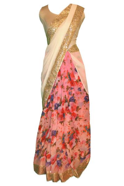 Gorgeous pink floral chiffon sari. Print consists of deep purple and pink roses, paired with sparkly golden border that matches gold pallu.