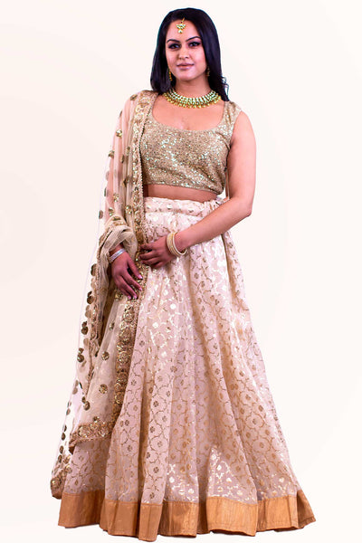 Glitz and glamour, covered in glitter yet comfortable blouse. With matching glittery skirt with gold border for contrast and matching dupatta.