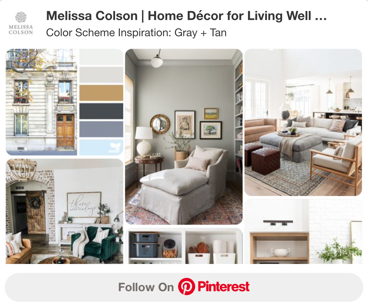 Color Scheme Inspiration Board Gray and Tan