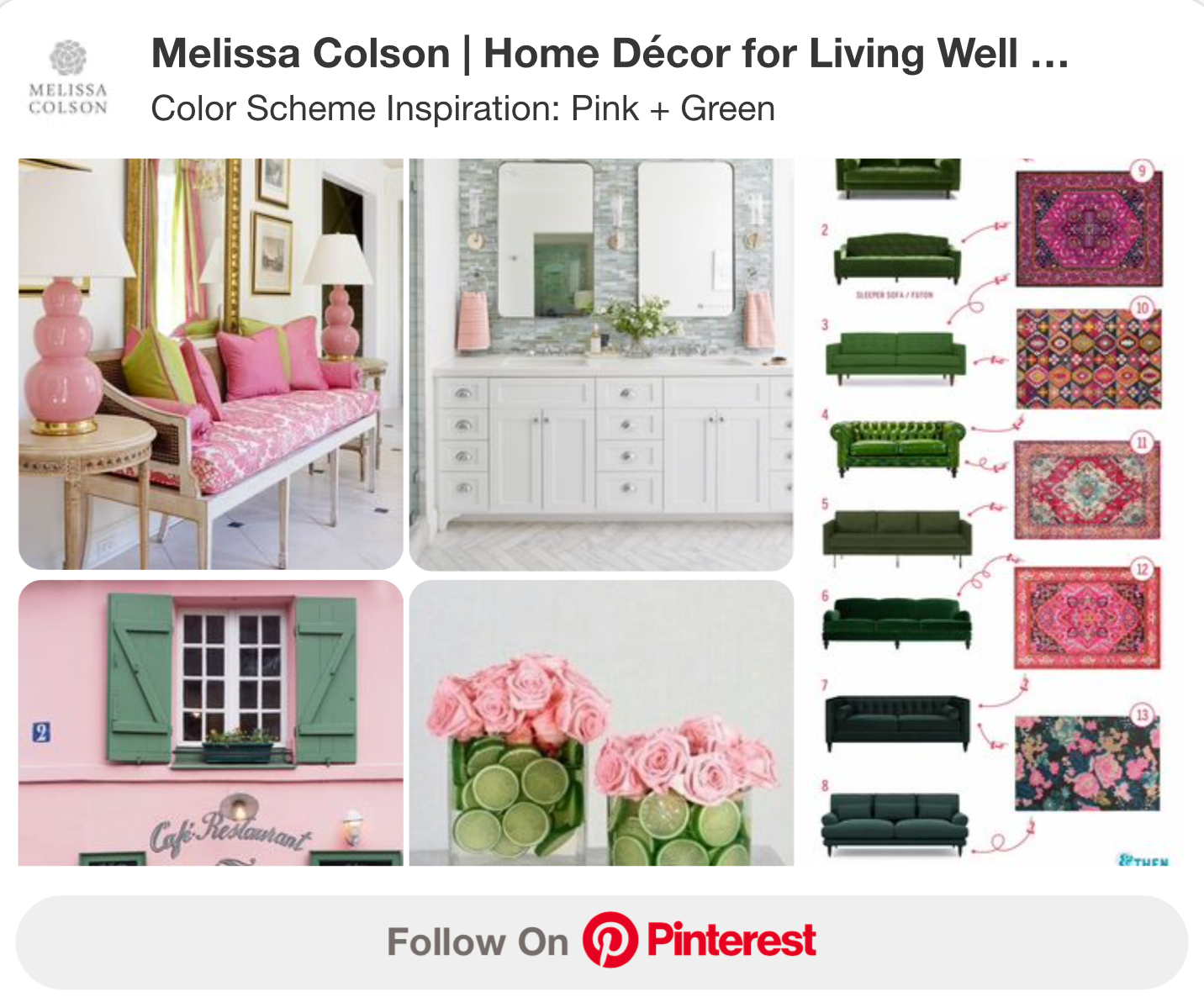 Color Scheme Inspiration Board Pink and Green
