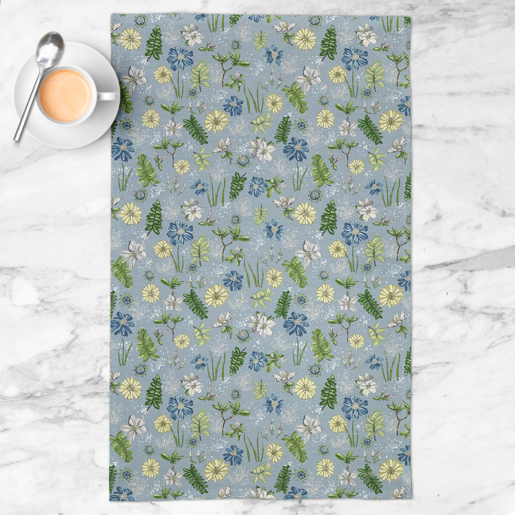 Bright Delights Tea Towel in Wistful Blue