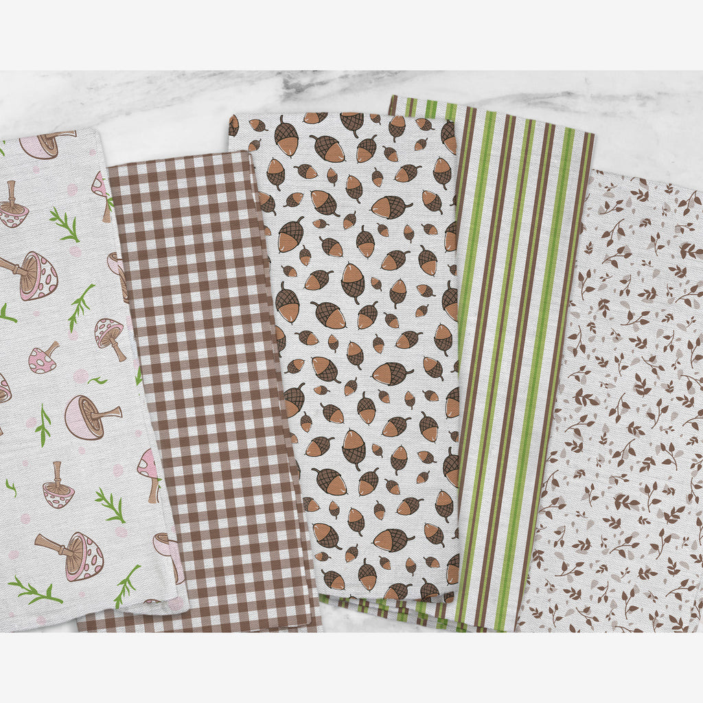 Woodland Check Tea Towel in Brown