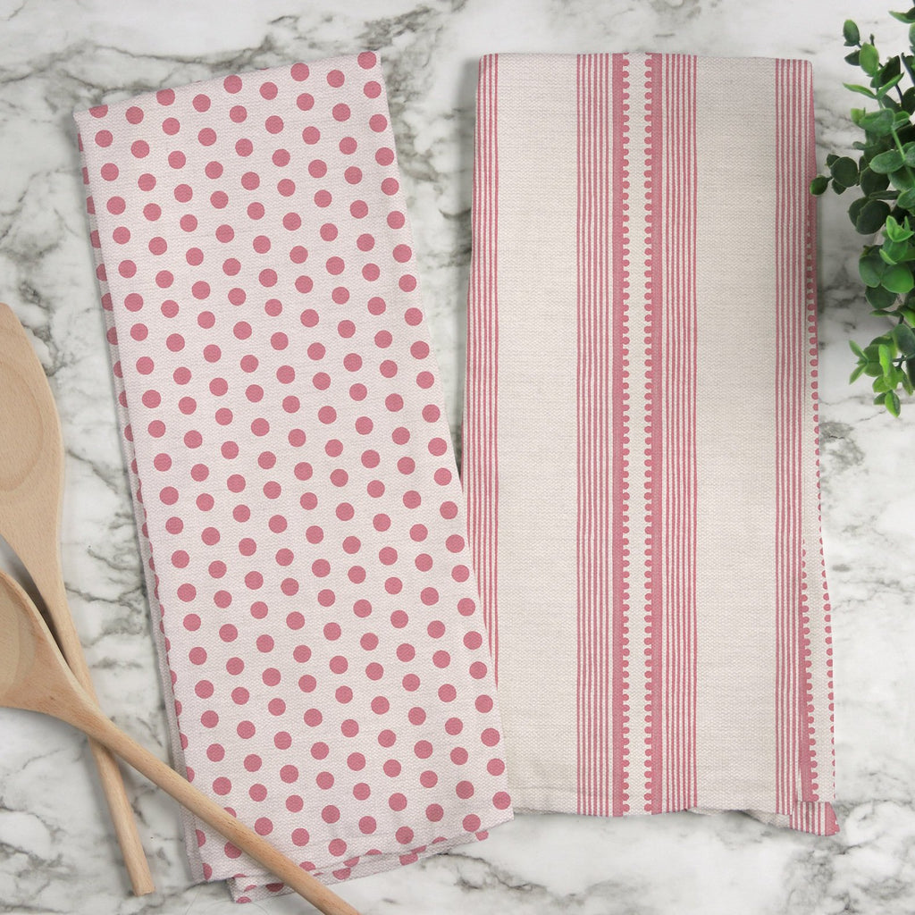 Sophisticated Stripe Tea Towel in Pink / Blush