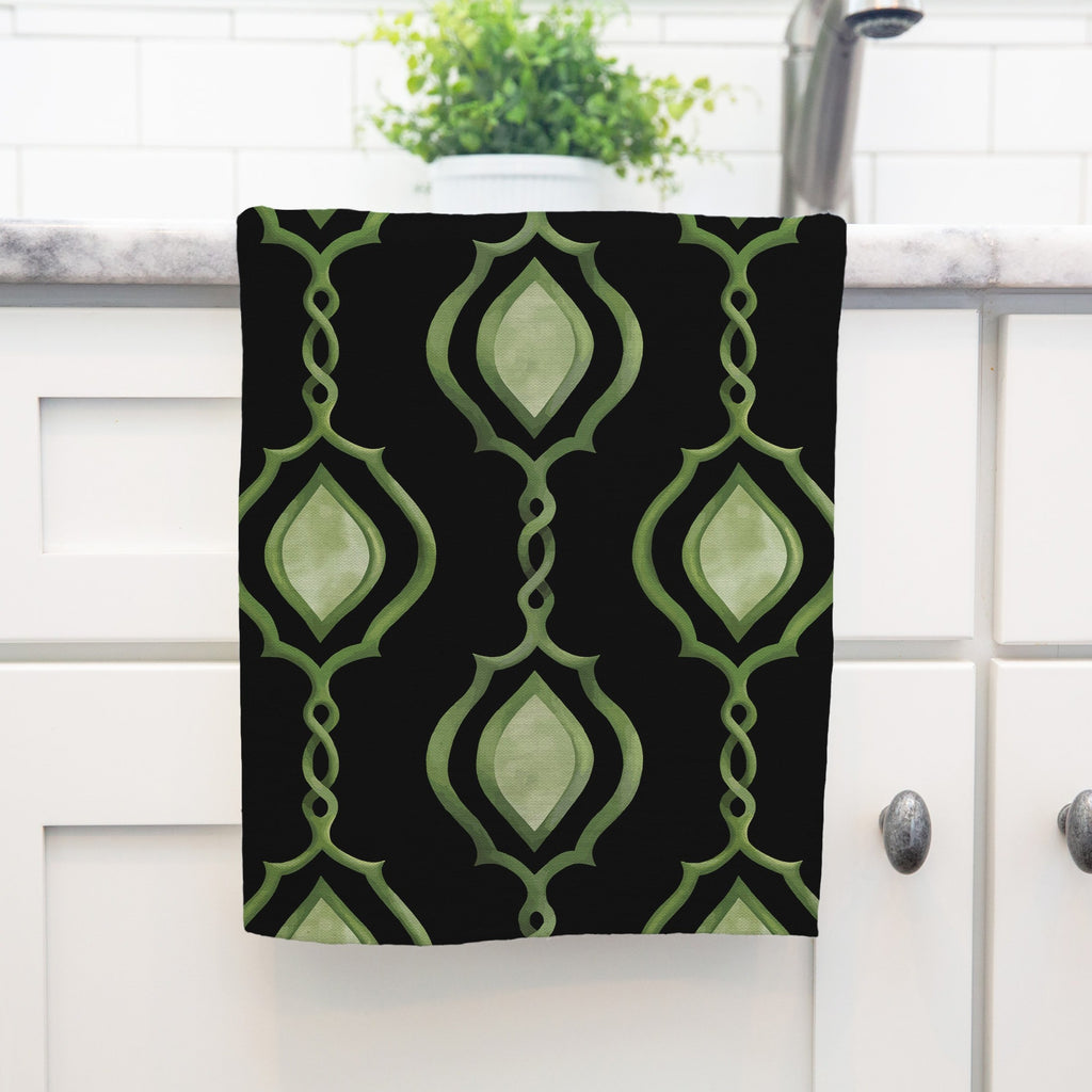 Splendid Trellis Tea Towel in Black