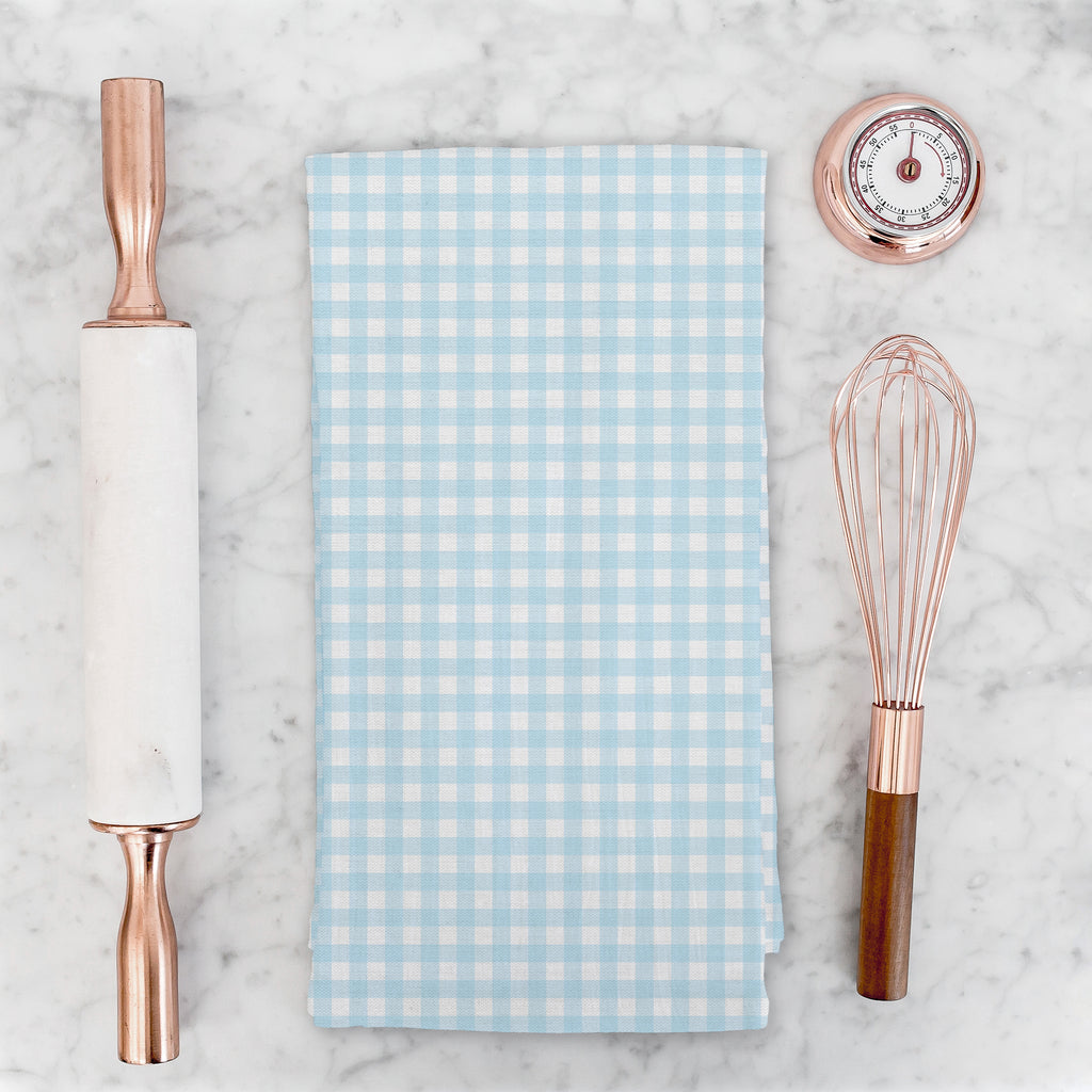 Woodland Check Tea Towel in Blue