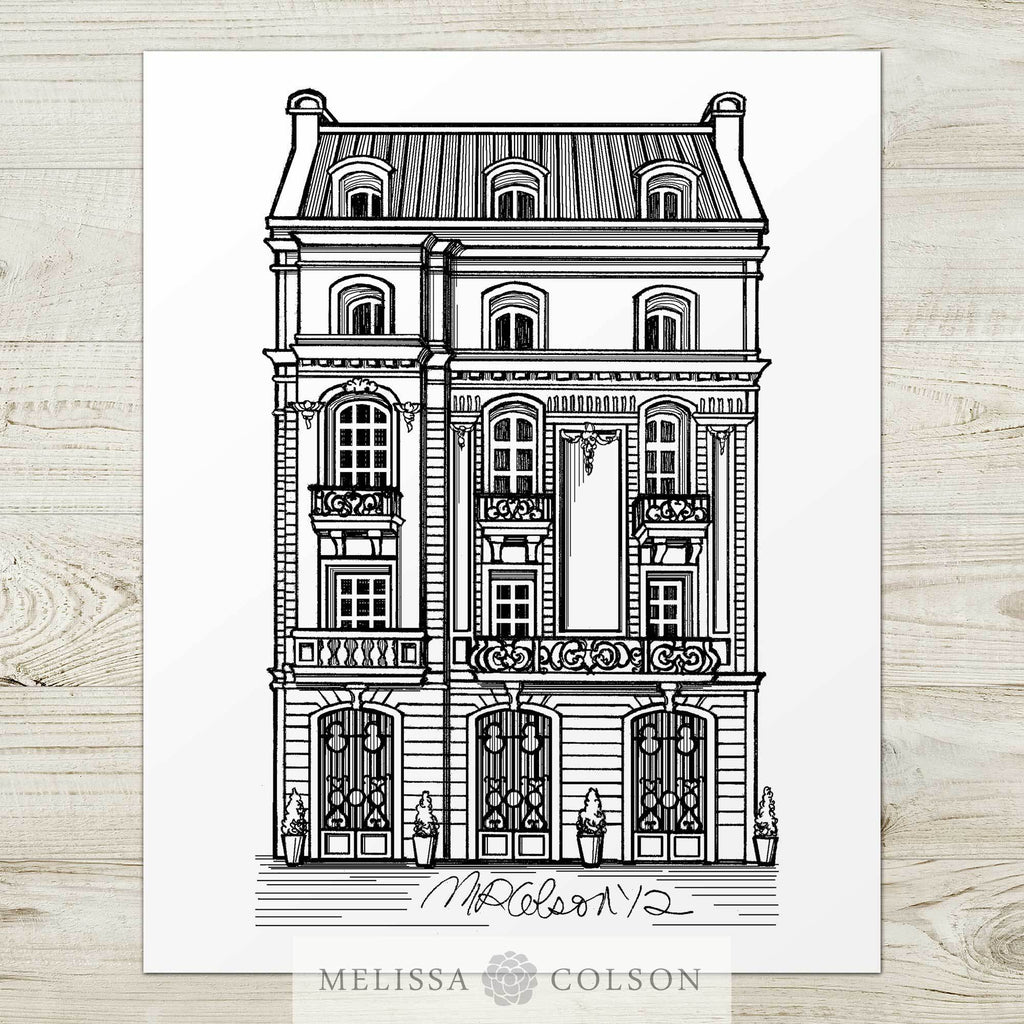 Algodon Mansion Pen and Ink Art Print - Melissa Colson