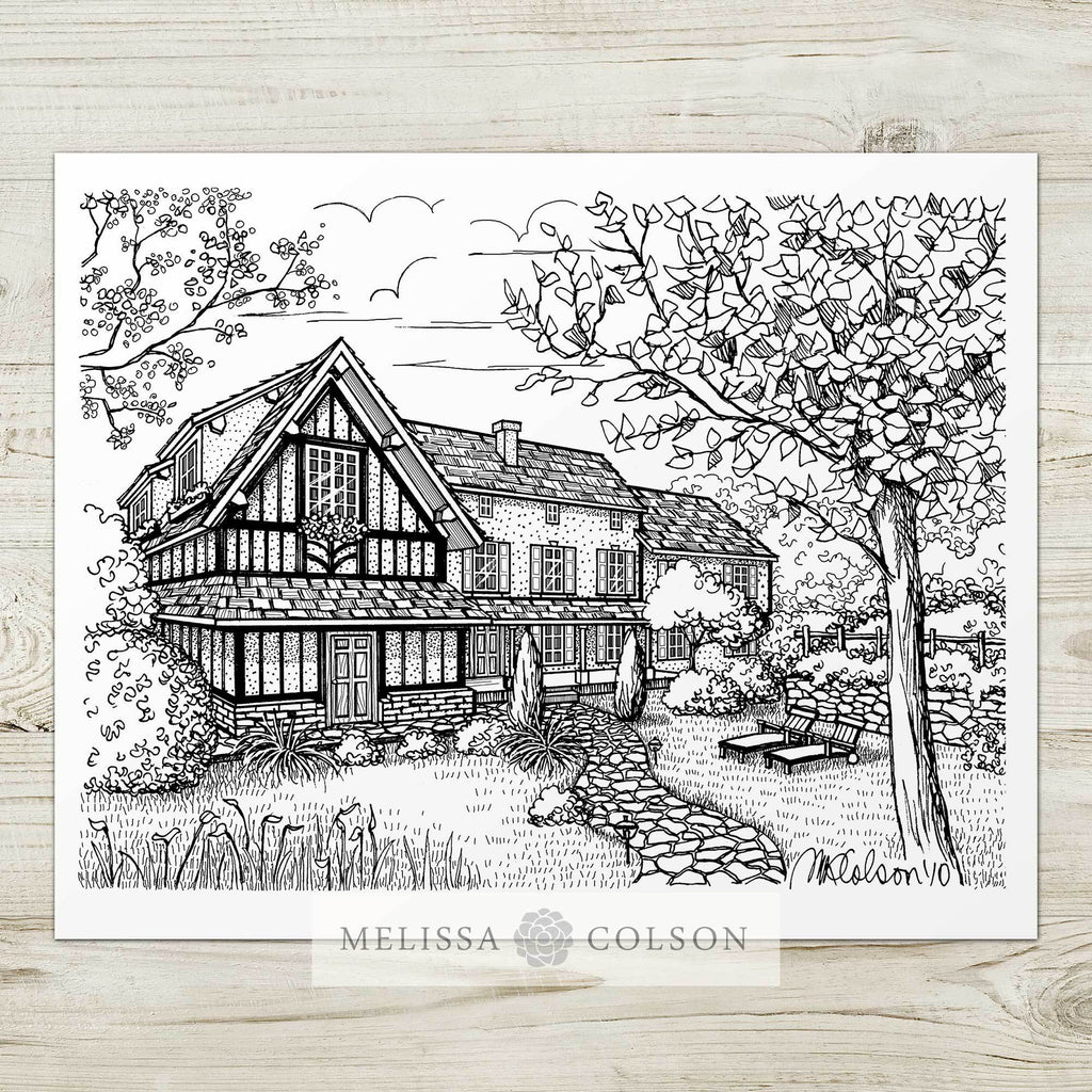 Auberge de la Source Pen and Ink Art Print - Melissa Colson