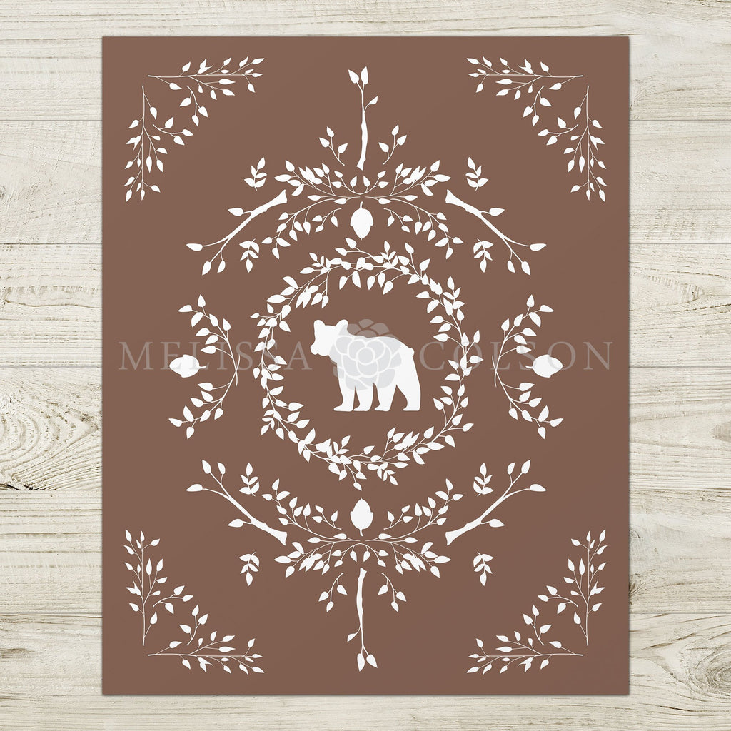 Bear Silhouette Giclée Art Print in Brown - Melissa Colson