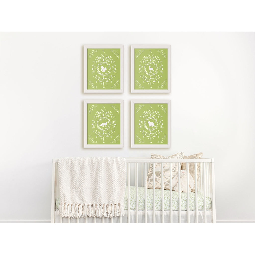 Bear Silhouette Giclée Art Print in Light Green - Melissa Colson