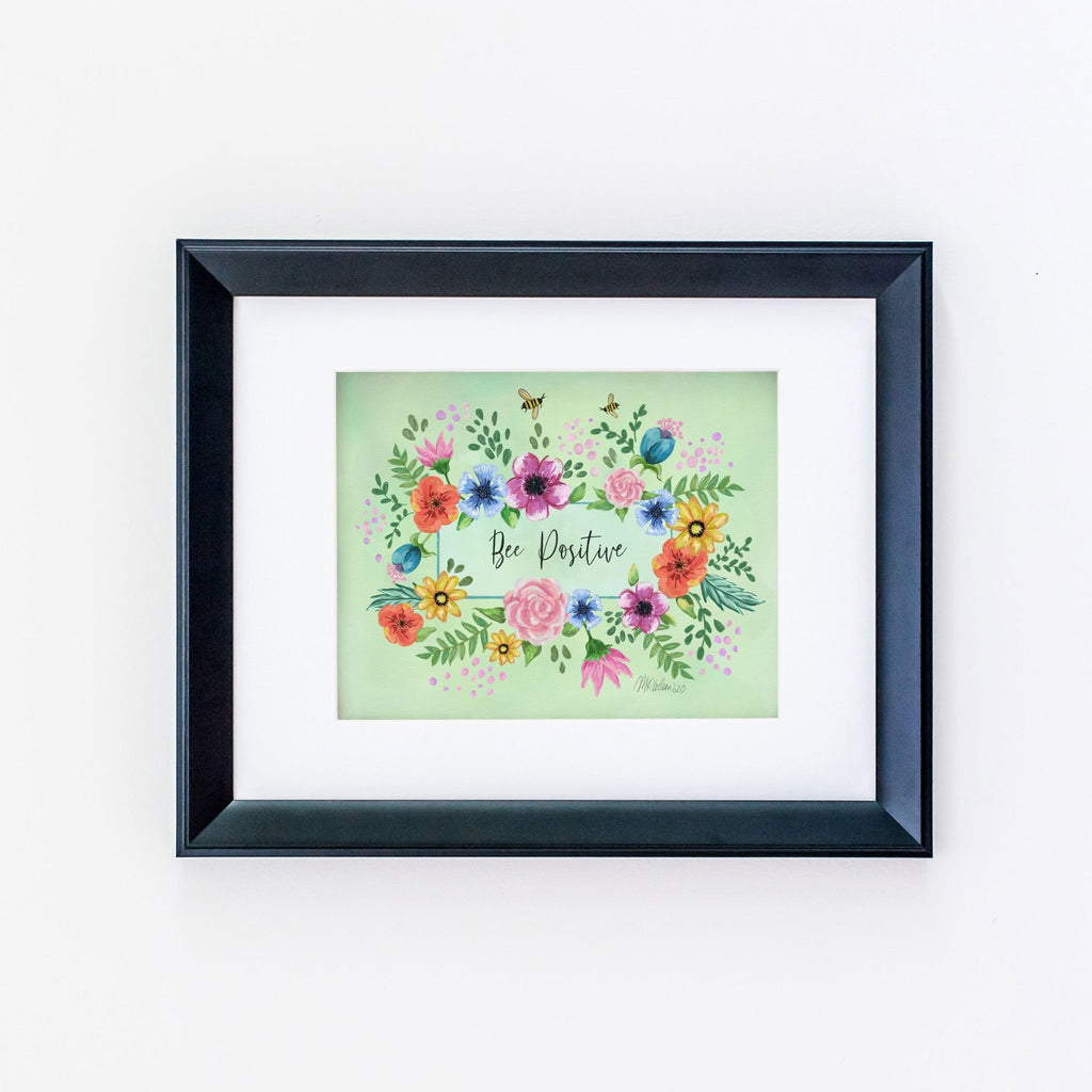 Bee Positive Typography Giclée Art Print - Melissa Colson