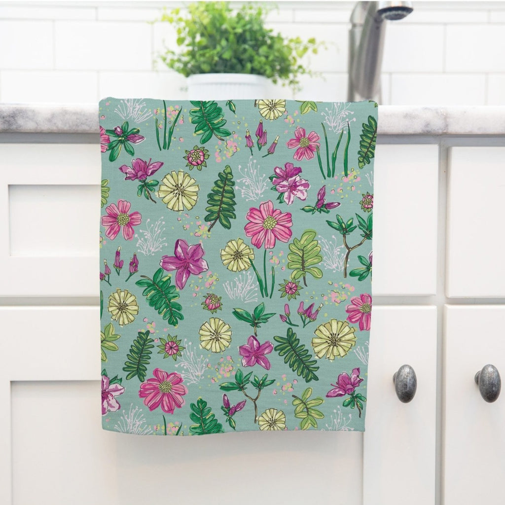 Bright Delights Tea Towel in Happy Aqua - Melissa Colson