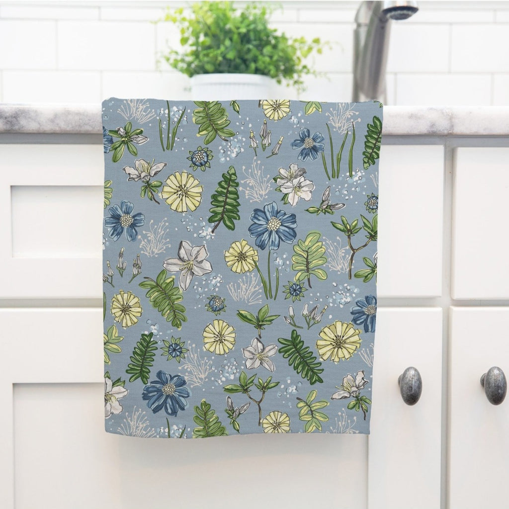 Bright Delights Tea Towel in Wistful Blue - Melissa Colson
