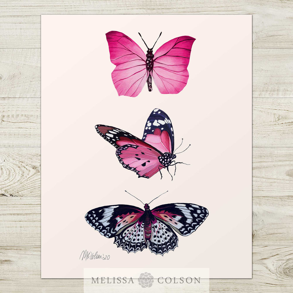 Butterflies (1 of 2) Watercolor Giclée Art Print - Melissa Colson