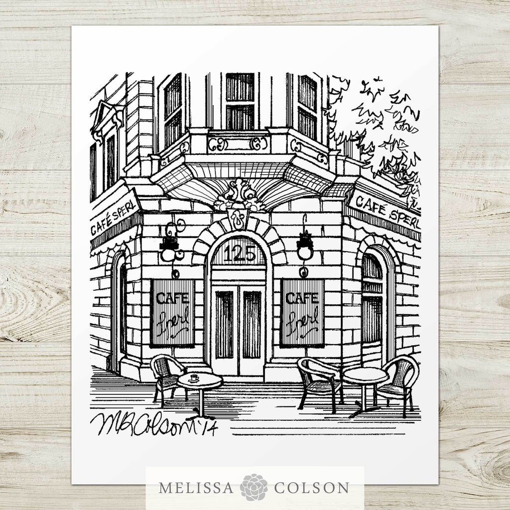 Cafe Sperl Pen and Ink Art Print - Melissa Colson