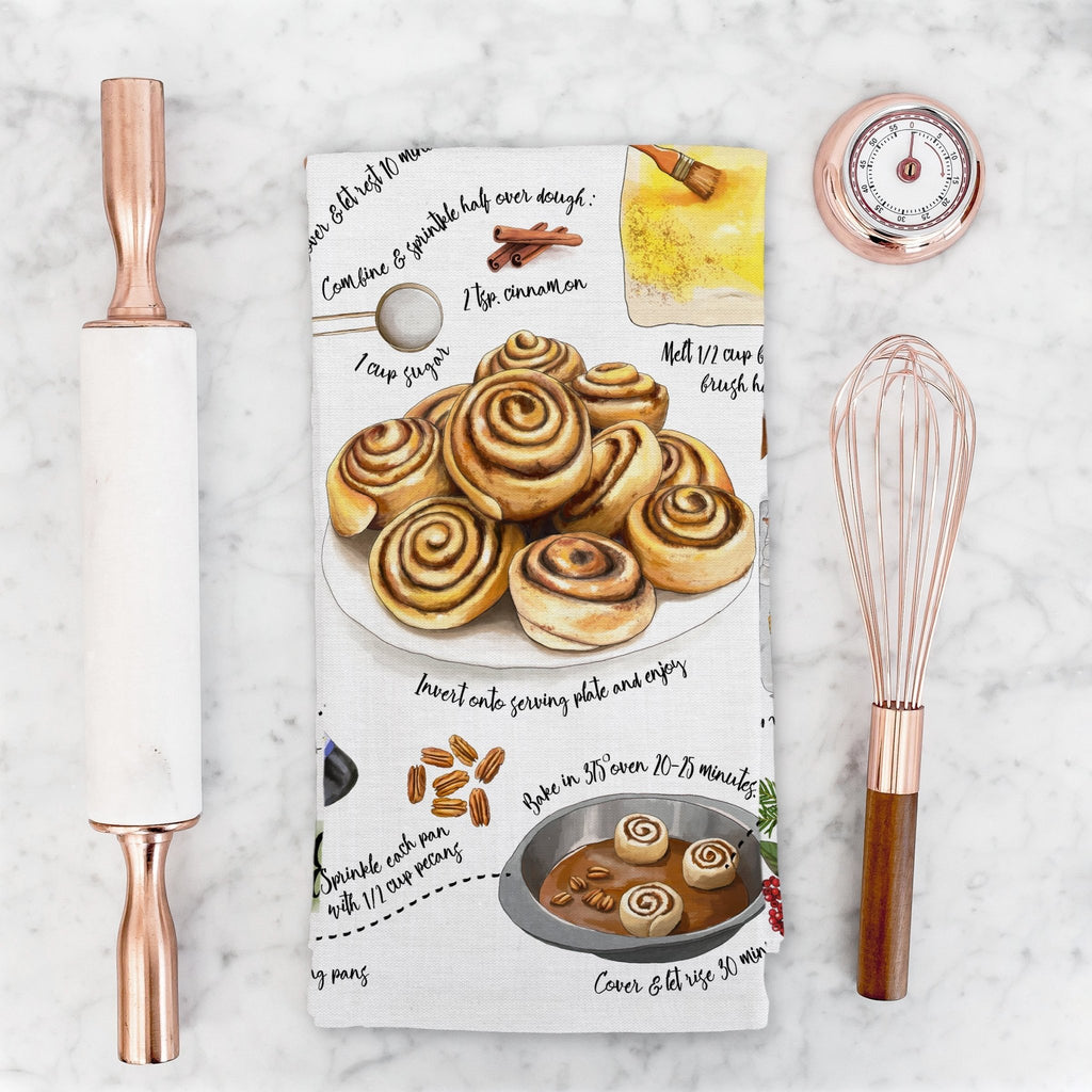 Christmas Sticky Buns Recipe Tea Towel - Melissa Colson