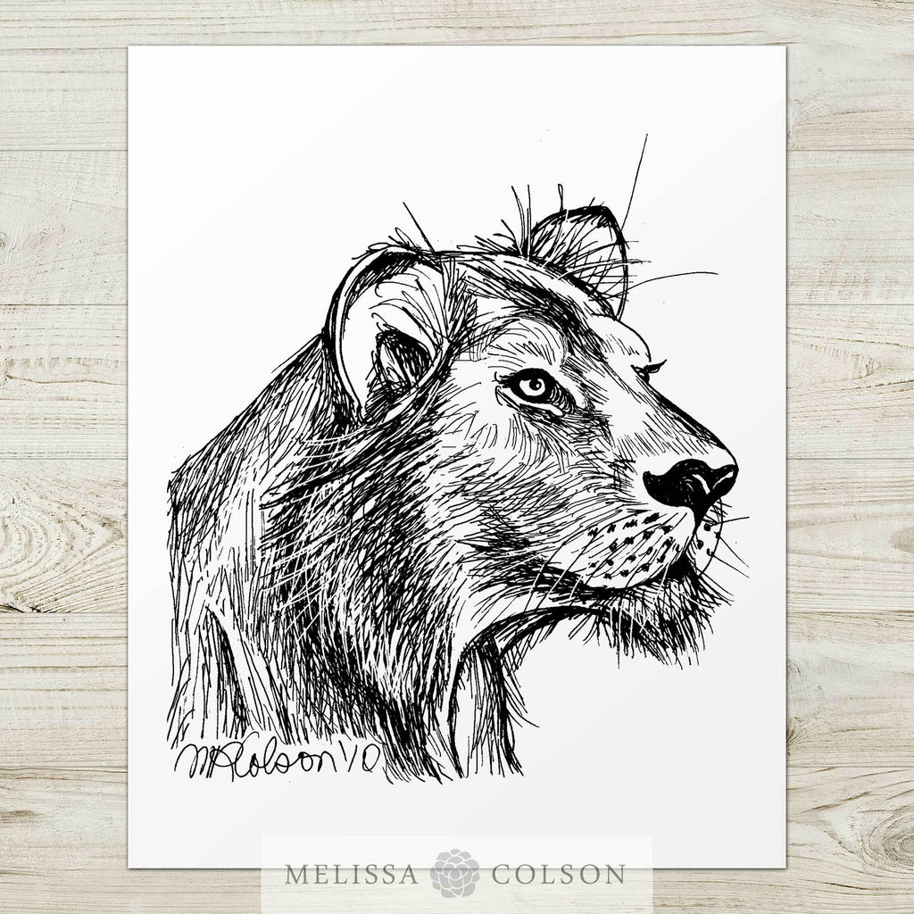 Lion (Part 3 of 3) Pen and Ink Art Print - Melissa Colson