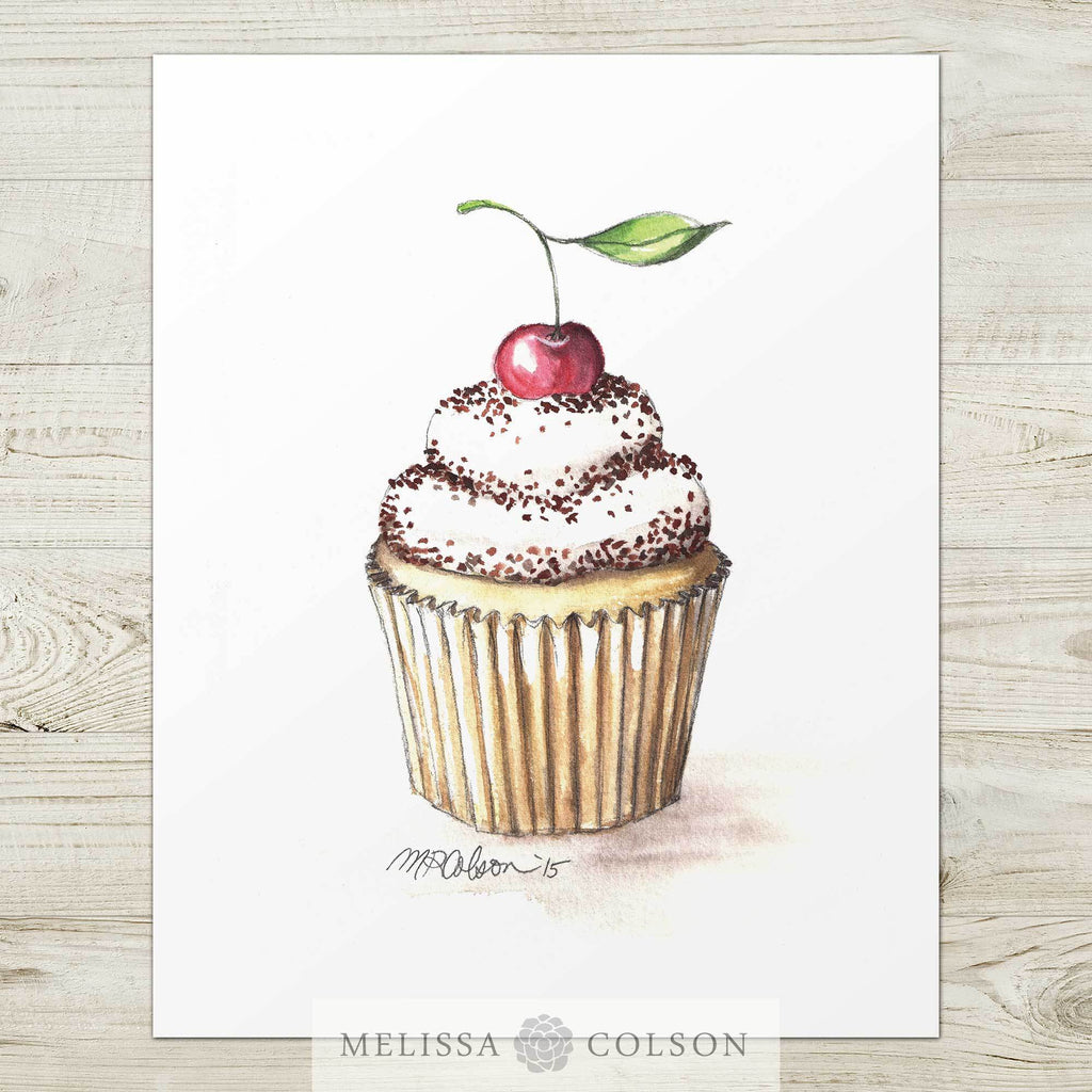 Cupcake with a Cherry Watercolor Art Print - Melissa Colson