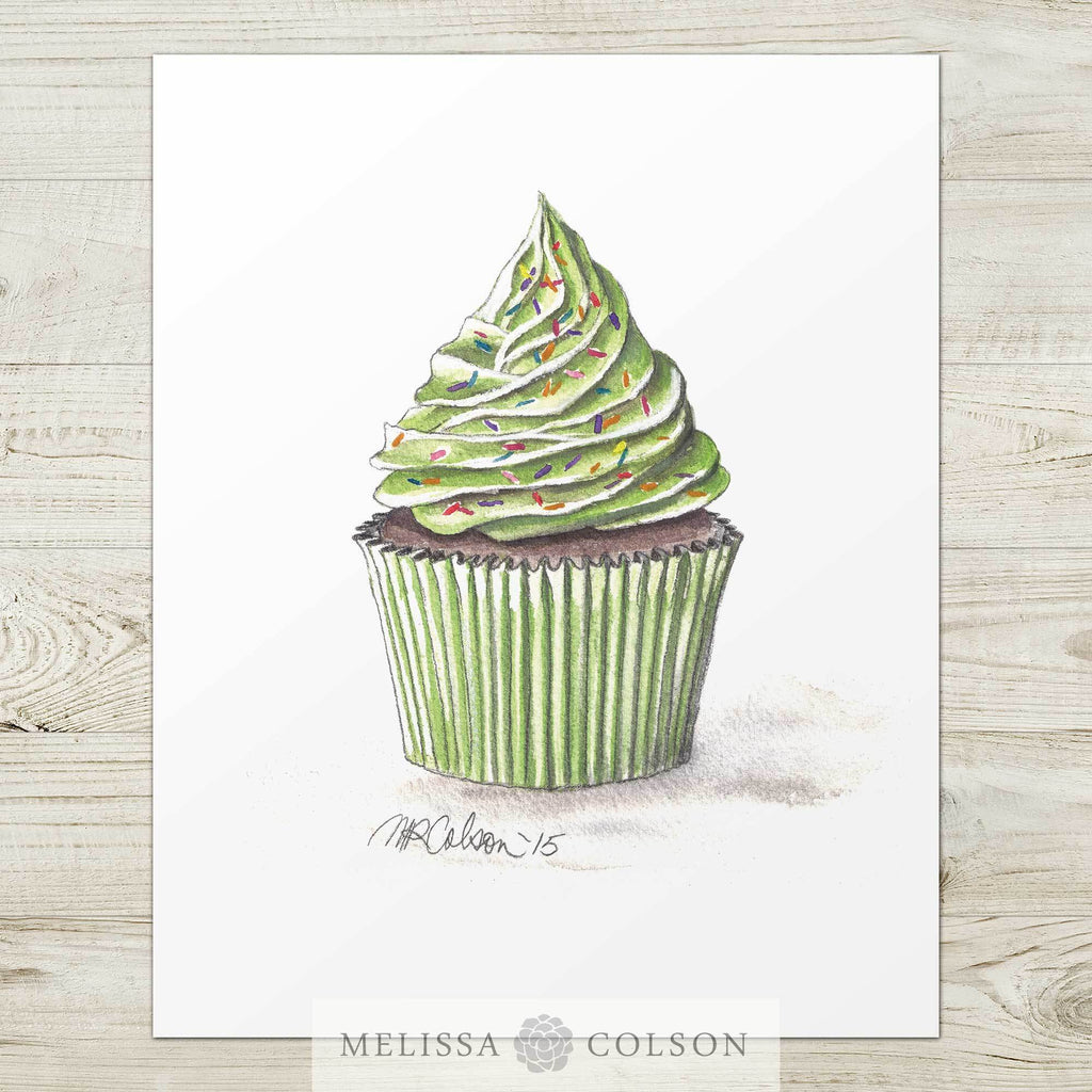 Green Cupcake Watercolor Art Print - Melissa Colson