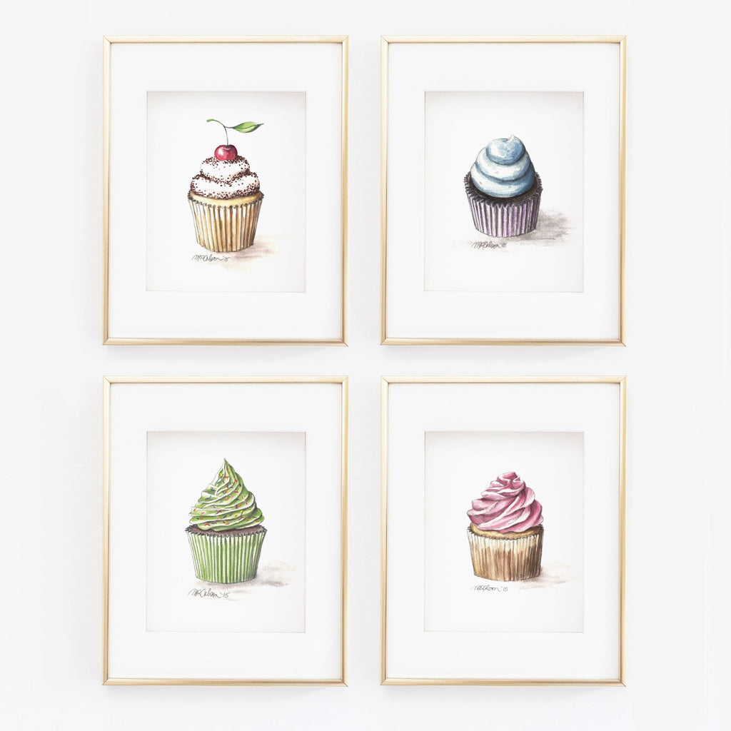 Cupcake with a Cherry Watercolor Giclée Art Print - Melissa Colson