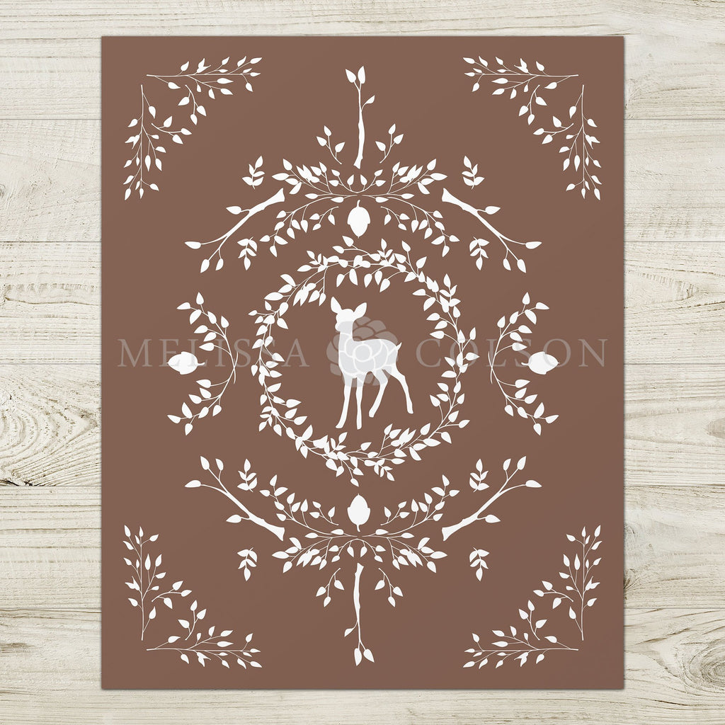 Deer Silhouette Giclée Art Print in Brown - Melissa Colson