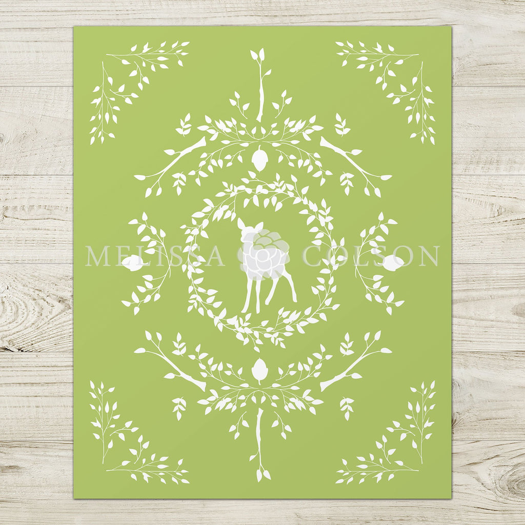 Deer Silhouette Giclée Art Print in Light Green - Melissa Colson