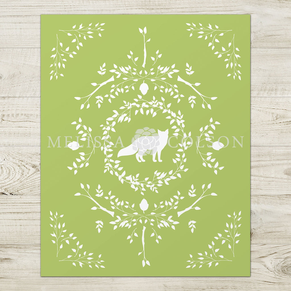Fox Silhouette Giclée Art Print in Light Green - Melissa Colson