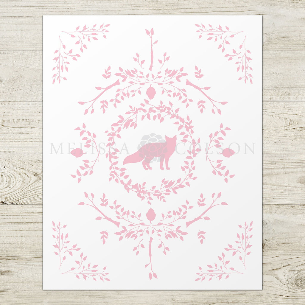 Fox Silhouette Giclée Art Print in Pink - Melissa Colson