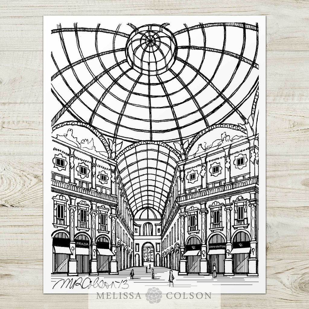 Galleria Vittorio Pen and Ink Art Print - Melissa Colson