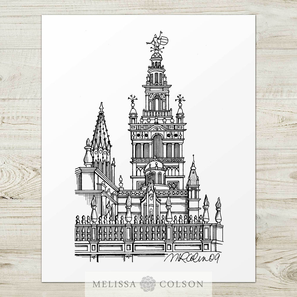 Giralda Bell Tower Pen and Ink Art Print - Melissa Colson