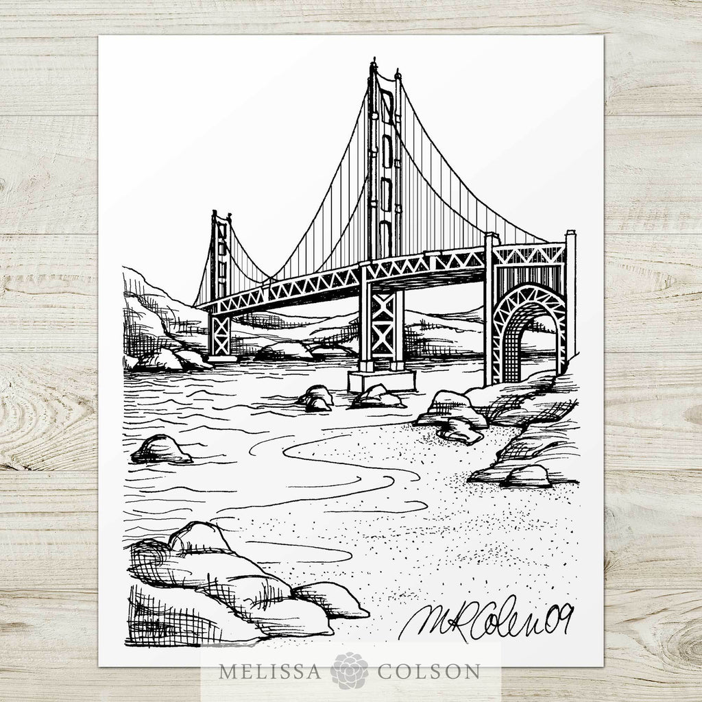 Golden Gate Bridge Pen and Ink Art Print - Melissa Colson