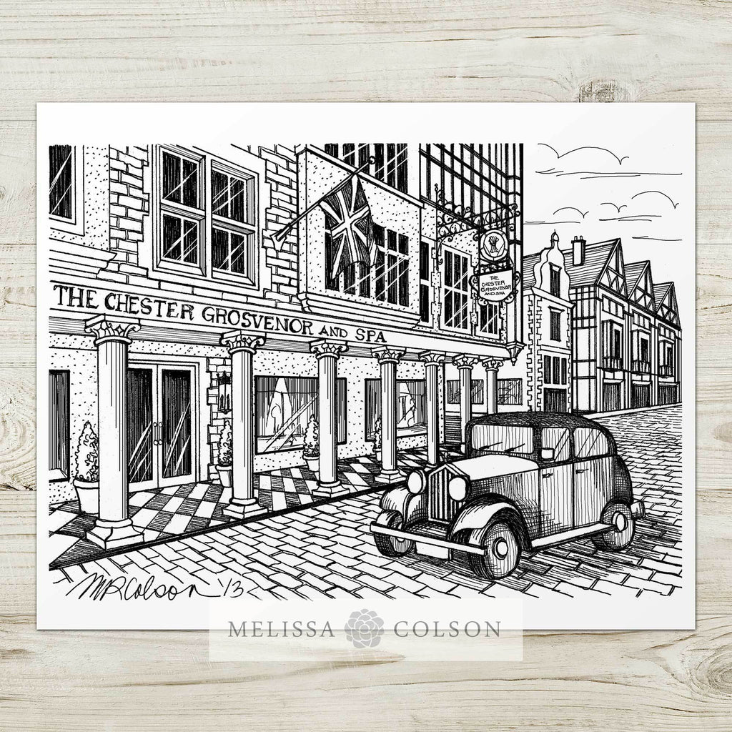 Grosvenor Hotel Pen and Ink Art Print - Melissa Colson
