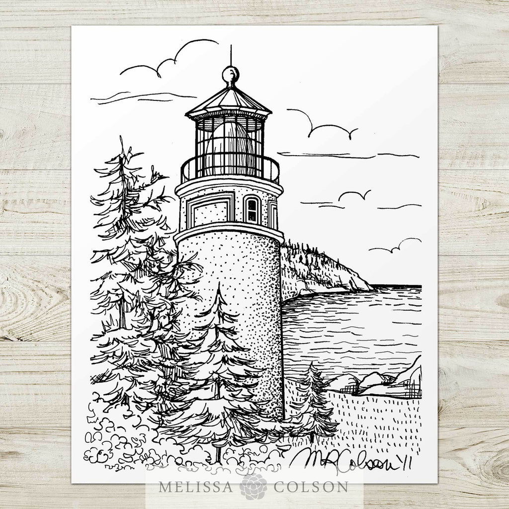 Heceta Head Lighthouse Pen and Ink Art Print - Melissa Colson