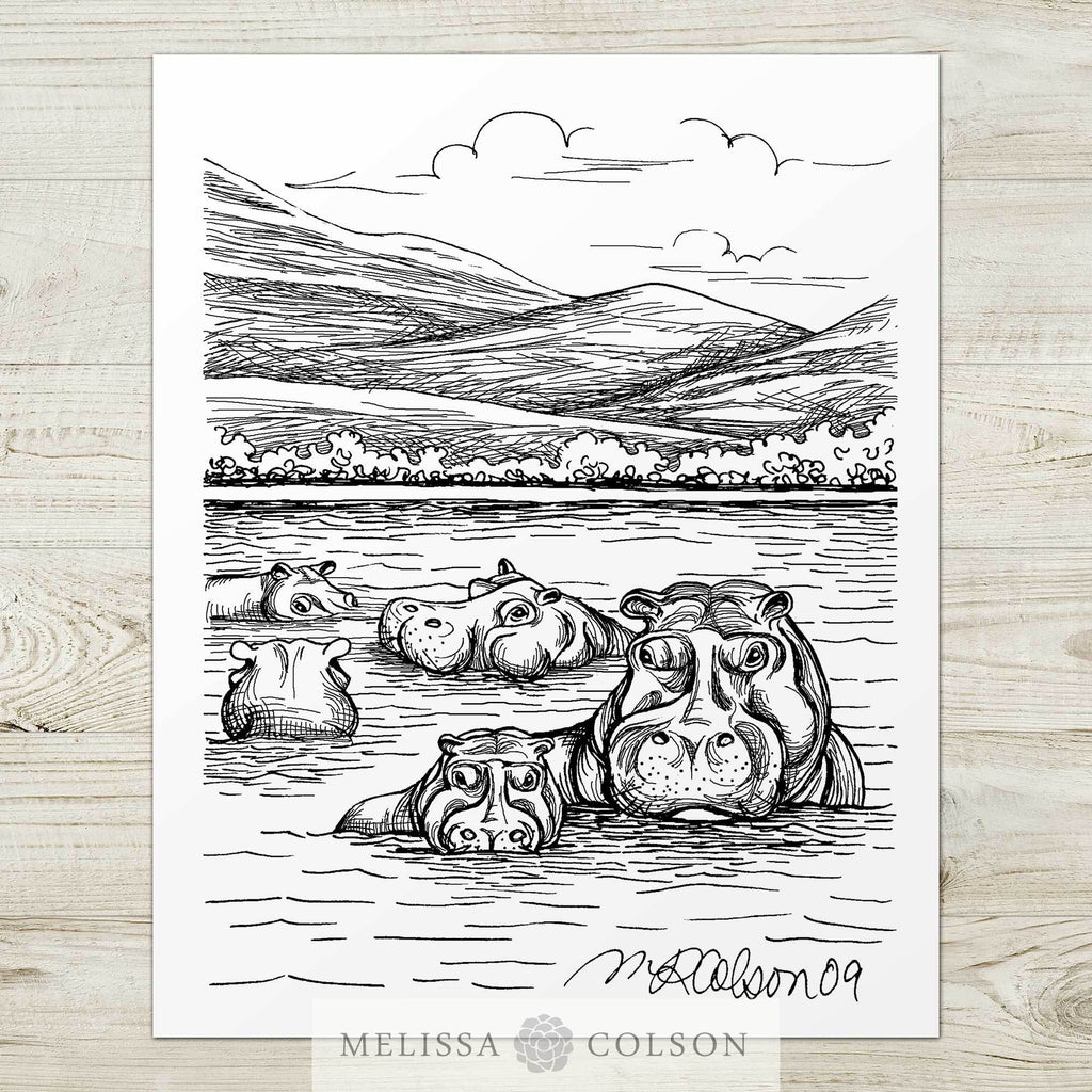 Hippos Pen and Ink Art Print - Melissa Colson