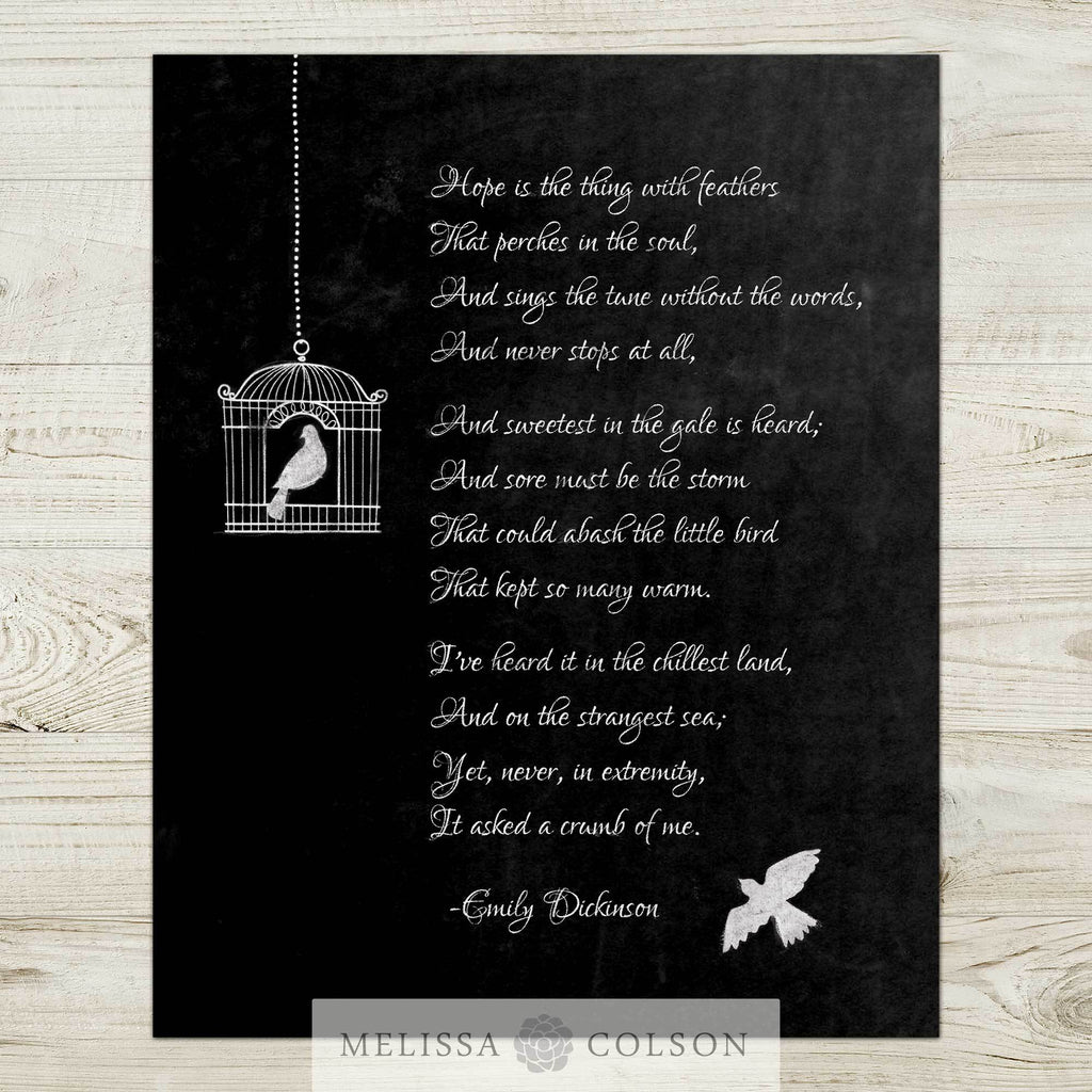 Hope is the Thing with Feathers Typography Art Print - Melissa Colson