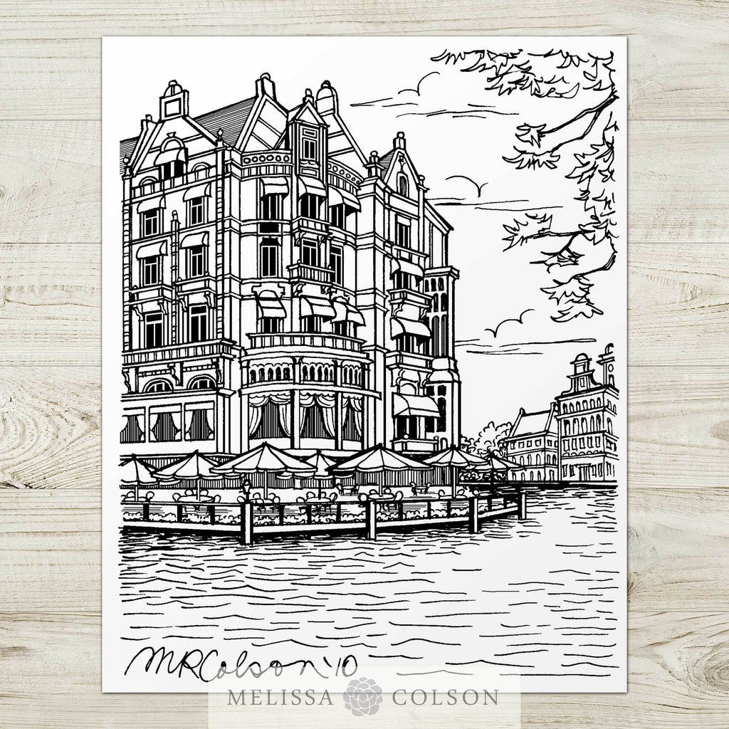 Hotel de L'Europe Pen and Ink Art Print - Melissa Colson
