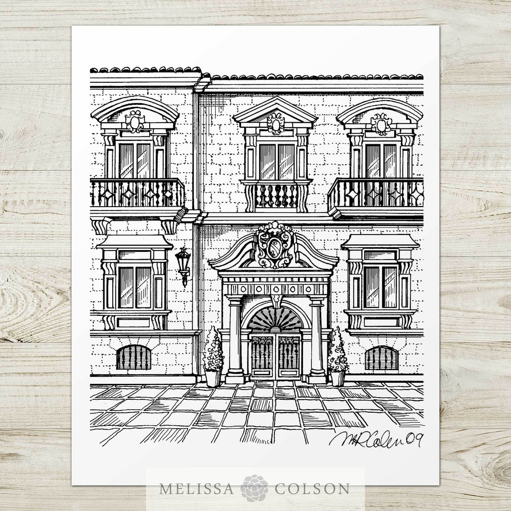 Hotel Rector Pen and Ink Art Print - Melissa Colson