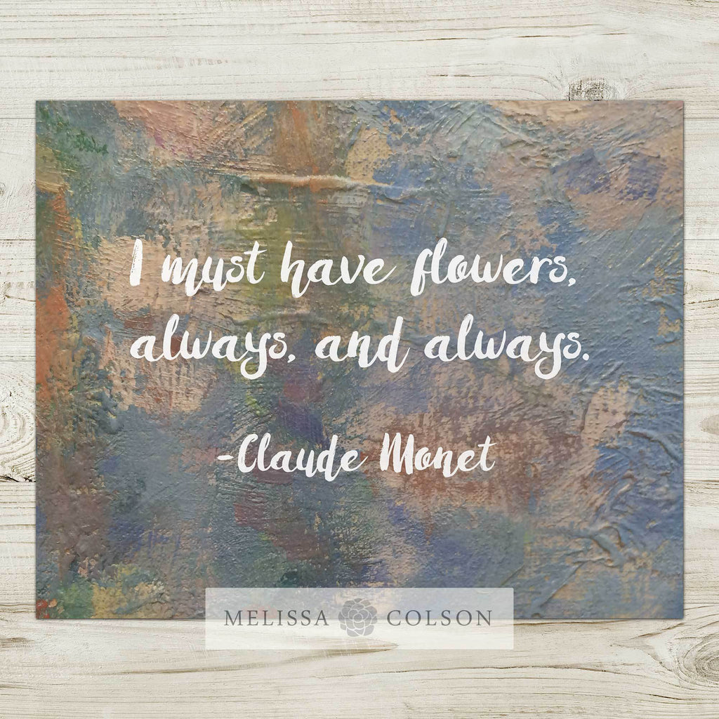 I Must Have Flowers Typography Art Print - Melissa Colson