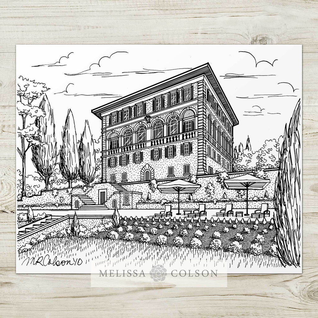 Il Salviatino Pen and Ink Art Print - Melissa Colson