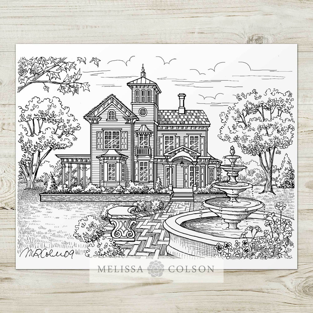 Jedediah Hawkins Inn Pen and Ink Art Print - Melissa Colson