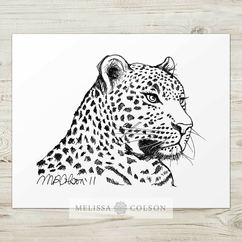 Leopard Pen and Ink Art Print - Melissa Colson