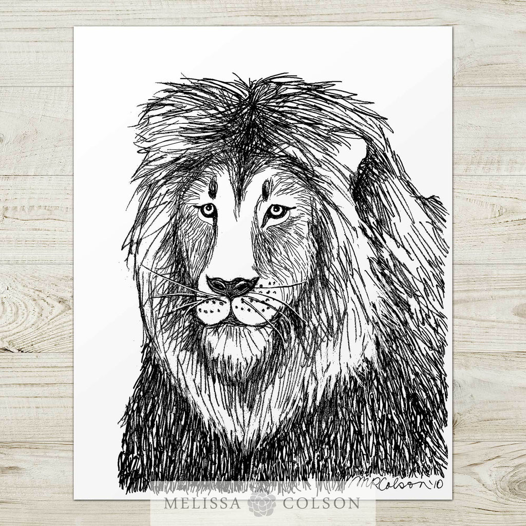 Lion (Part 1 of 3) Pen and Ink Art Print - Melissa Colson