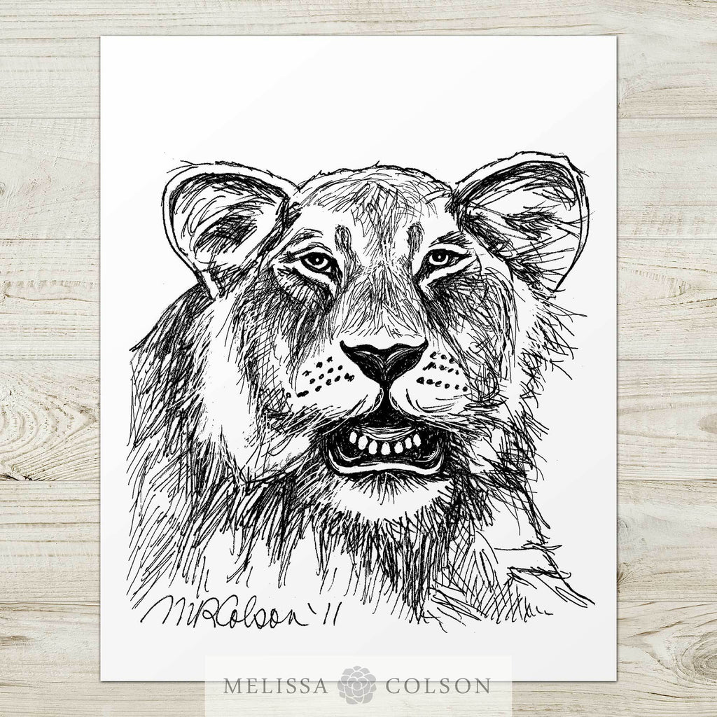 Lion (Part 2 of 3) Pen and Ink Art Print - Melissa Colson