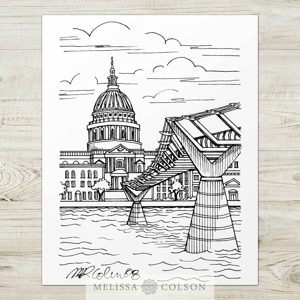 Millennium Bridge Pen and Ink Art Print - Melissa Colson