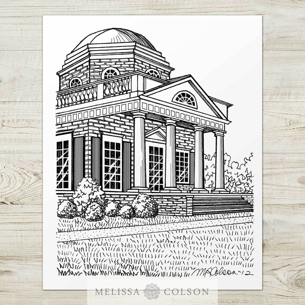 Monticello Pen and Ink Art Print - Melissa Colson