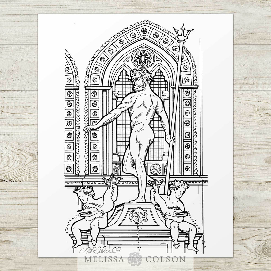 Neptune Fountain Pen and Ink Art Print - Melissa Colson
